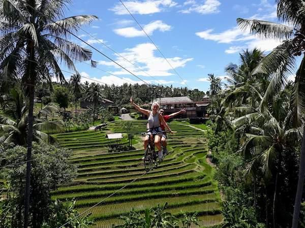 Bali fiets lucht rijstvelden